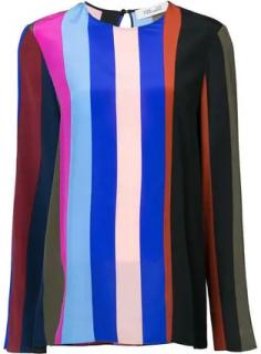 Diane Von Furstenberg Carson Stripe Side Slit Blouse
