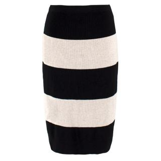 Dries Van Noten Black and Stone Striped Skirt