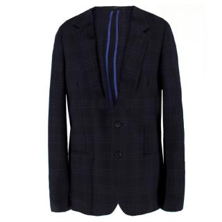Paul Smith Navy Checked Wool Blazer