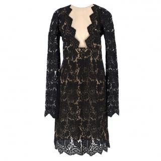 Adriana Minari Lace & Mesh Plunge Long Sleeved Mini Dress