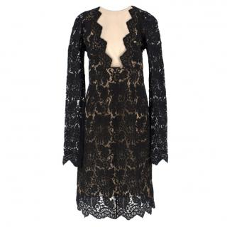 Adriana Minari Lace & Mesh Plunge Long Sleeved Mini Dress