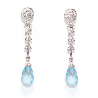V. Holmstrup White Gold, Diamond & Aqua Marine Drop Earrings