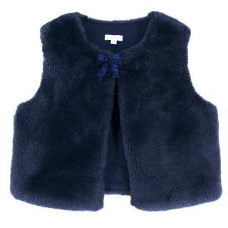 Jacadi Girl's Blue Faux Fur Waistcoat