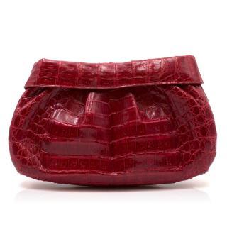 Nancy Gonzalez Red Caiman Crocodile Clutch