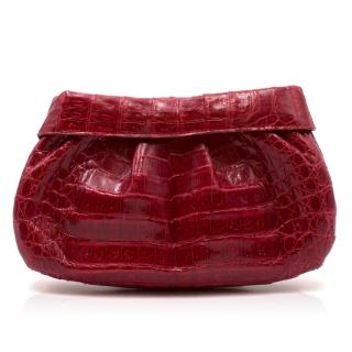 Nancy Gonzalez Red Caiman Crocodile Clutch