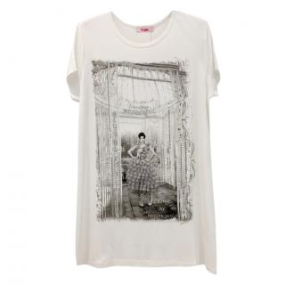 Blumarine Winter Print T shirt with Swarovski Crystals