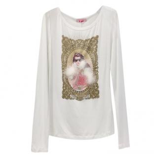 Blumarine Marabou Feather Winter White Top