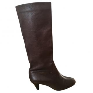 Bally chocolate brown kitten heel boots