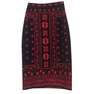 Alexander Mcqueen Black & Red Wool & Silk Stretch Pencil Skirt