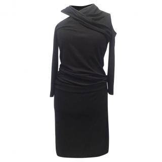 Donna Karan Knit Cutout Draped Dress