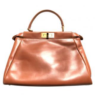 Fendi Tan Leather Peekaboo Top Handle Bag
