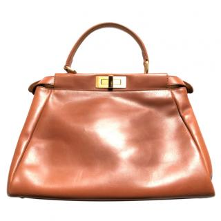 Fendi Tan Leather Peekaboo Top Handle Bag