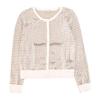 Bonpoint Girl's Metallic Check Cardigan