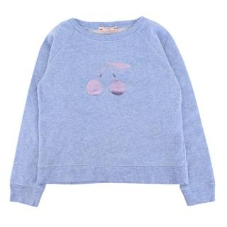 Bonpoint Girl's Metallic Cherry Blue Marl Sweatshirt
