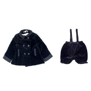 Marie Chantal Boy's Navy Velvet Bubble Short and Coat Set