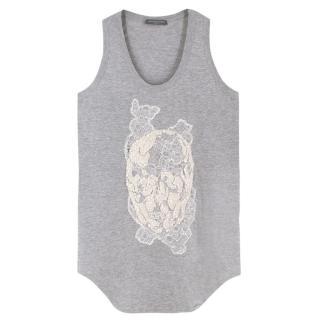 Alexander McQueen Embellished Skull Grey Vest Top