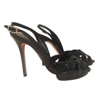 Gina patent black platform sandals