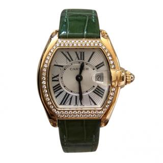 Cartier Diamond Set Yellow Gold Quartz Roadster Watch