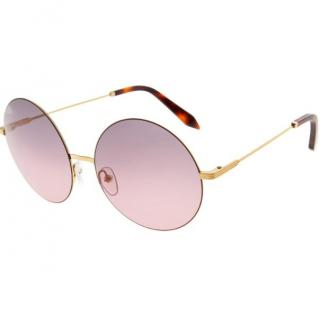 Victoria Beckham Round Pink and Gold Sunglasses
