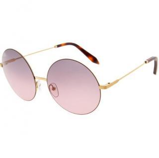 Victoria Beckham Round Pink and Gold Sunglasses