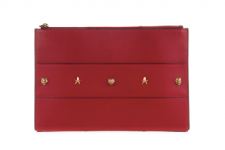Gucci Animalier Red Leather Tiger & Star Stud Pouch Clutch Bag