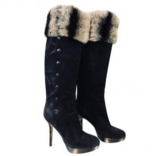 Dior Knee Length Chinchilla Fur Boots.