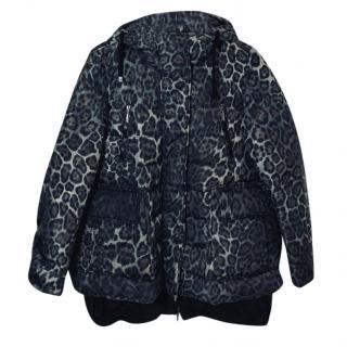 Moncler Leopard Print Goose Down Coat