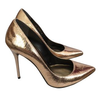 Stuart Weitzman for Russell & Bromley Rose Gold Pumps