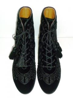 Aquazzura 'Almaty' Embroidered velvet boots