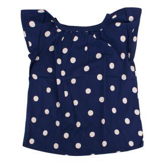 Bonpoint Girl's Blue Polkadot Top
