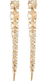 Oscar De La Renta Crystal Gold Tendril Earrings