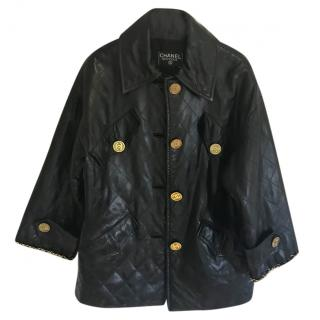 Chanel vintage black leather quilted jacket