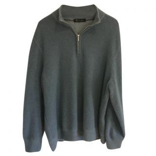 Loro Piana blue cashmere zip neck sweater