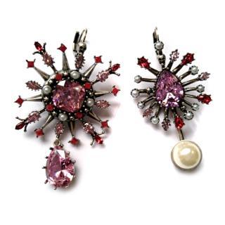 Alexander McQueen Pink Crystal Pearl Earrings