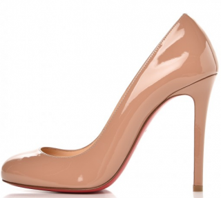 Christian Louboutin Patent Nude Ron Ron 100 Pumps