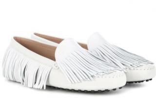 Tod's White Leather Gommini Multi Fringe Loafers