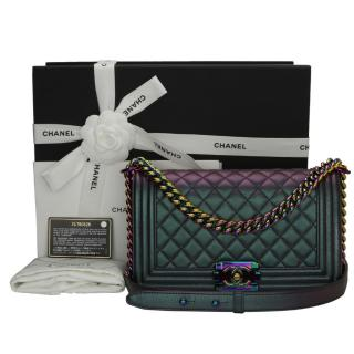 CHANEL  Iridescent Purple Old Medium Quilted Boy Bag