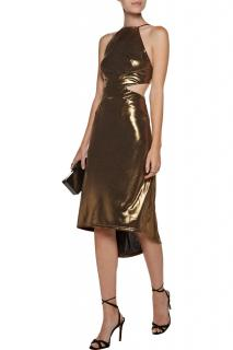 Halston Heritage asymmetric cut out gold lame dress
