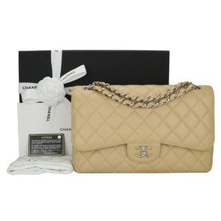 193617678bf3 CHANEL Beige Clair Classic Caviar Double Flap Jumbo Bag