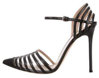 Gianvito Rossi PVC & Leather Ankle Strap Sandals