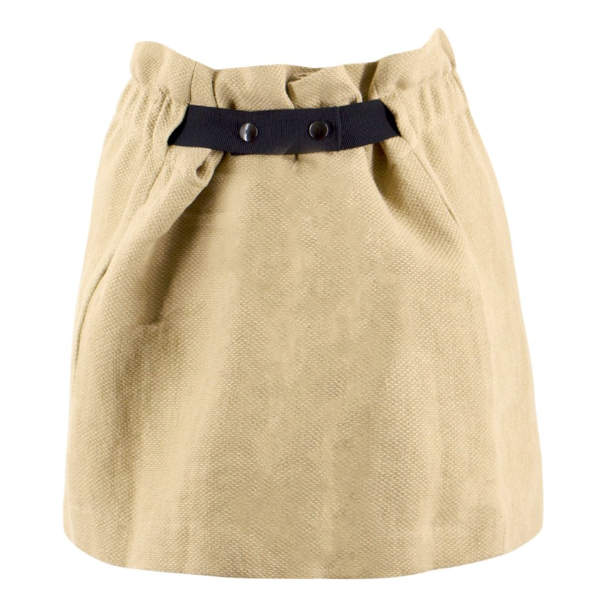 Isabel Marant Beige Belted Linen Miniskirt