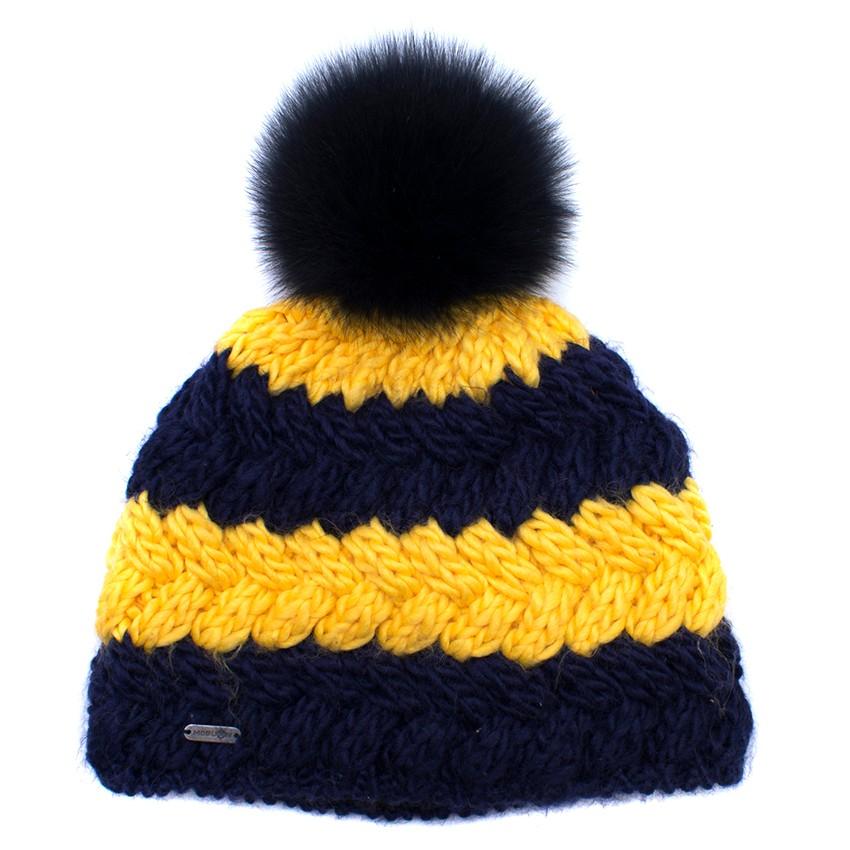 4ea32472f16 McBurn Striped Wool-blend   Fox Fur Bobble Hat