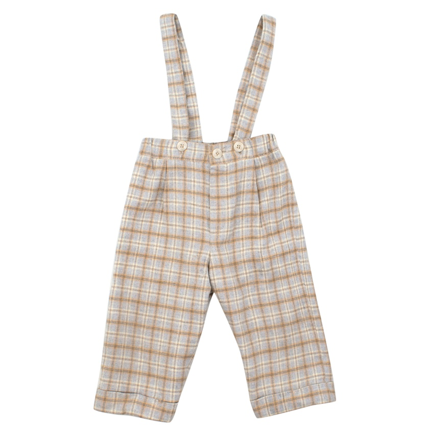 Baby Graziella Checked Brushed Cotton Dungaree Trousers