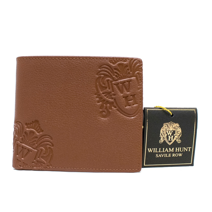 William Hunt Tan Brown Grained-Leather Bifold Wallet