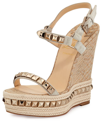best authentic aa9c2 ea954 Christian Louboutin Cataclou 140 Studded Espadrille Wedge Sandals