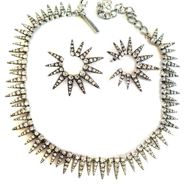 Oscar De La Renta Sea Urchin Crystal Necklace and Earrings
