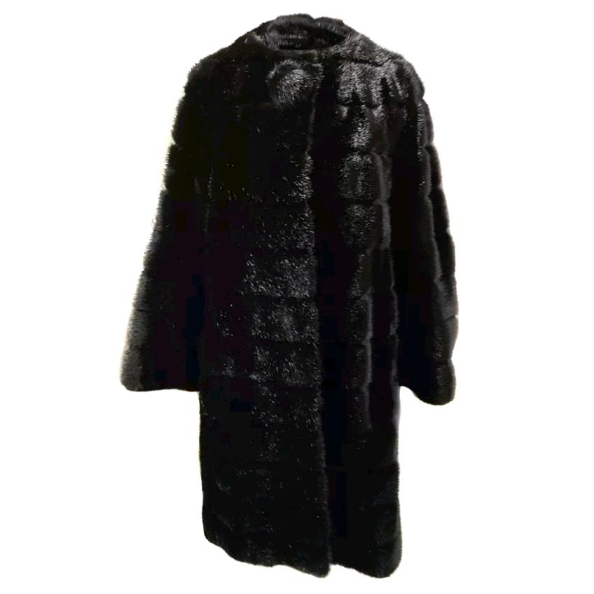 Kate Spade New York Black Mink Faux Fur Coat