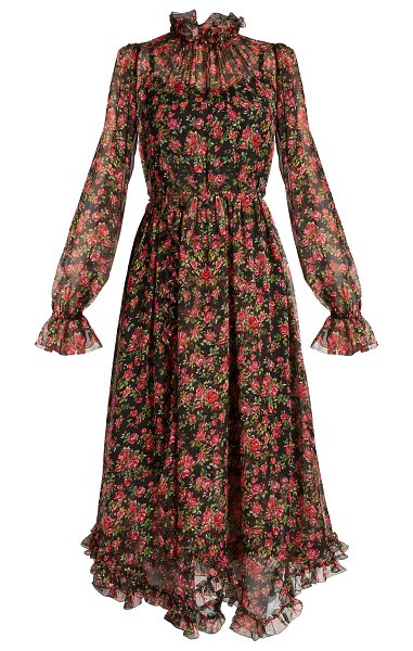 768ea8f923e Dolce Gabbana Roseprint Silk Chiffon Midi Dress | HEWI London