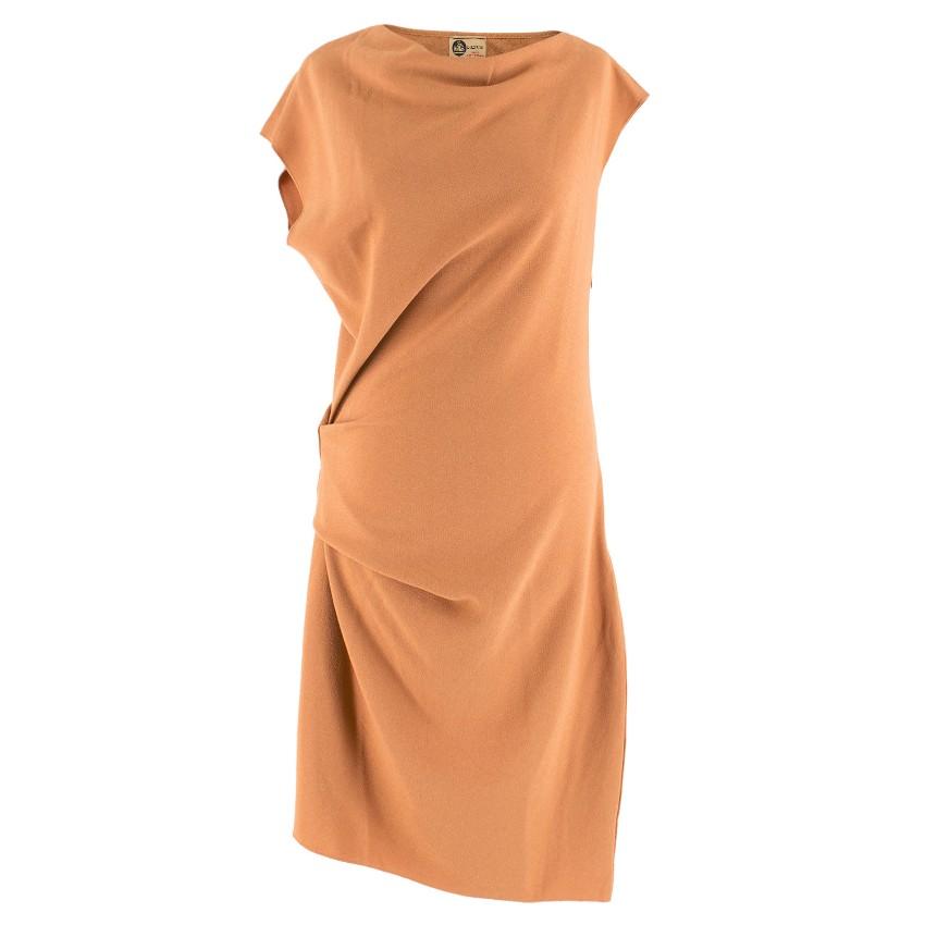 Lanvin Burnt Orange Gathered Asymmetric Dress