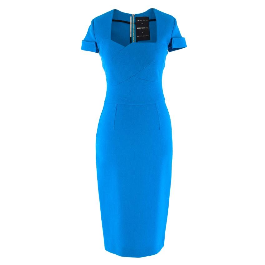 Roland Mouret for Selfridges Blue Owlerton Rear Zipper  Dress